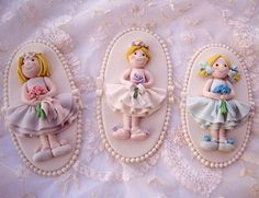 3 My Darling Flower Girls Plaque Cake Toppers