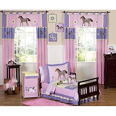 @Overstock.com - This Pretty Pony bedding set by JoJo Designs will help your little girl saddle up for sweet dreams. This for Emily's room horseshoes.http://www.overstock.com/Bedding-Bath/Pretty-Pony-Horse-5-piece-Toddler-Girls-Bedding-Set/5298522/product.html?CID=214117 $89.99