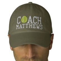 Tennis Coach Personalized Embroidered Hat | Zazzle