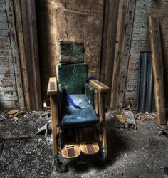 "Hellingly Asylum, Sussex ~ There is something utterly creepy about seeing a child's wheelchair in the decaying mental hospital. According to county asylum records, Hellingly Asylum had a special building just for ""mentally defective"" children. Of course, this was back in a time when people were locked away in isolation, people with mental illness or an illness in which the family did not want to deal."
