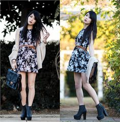 Nasty Gal Boots, Chaceylove Monochrome Dress, Chaceylove Bag