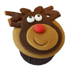 Reindeer cupcake with Curly Wurly antlers - For all your cake decorating supplies, please visit craftcompany.co.uk