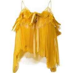 Rochas pleated bow cami (9.265 ARS) ❤ liked on Polyvore featuring intimates, camis, tops, shirts, yellow cami, yellow camisole and rochas