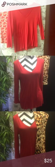 BUTTERY SOFT VNECK & LONG SLEEVE TEE NO TAG I THINK THIS IS BANANA REPUBLIC TEE NOT SURE BUT THE TAG MUST HAVE BOTHERED ME BC I TOOK IT OUT 🙊...ANYWAY IT FEELS JUST AS SOFT AS LULAROE LEGGINGS AND GOES GREAT WITH ALL MY HEART ❤️ STYLE LEGGINGS ITS A GREAT BLOOD ORANGE COLOR AND VERY COMFY WITH LOTS OF SPANDEX NOT SHEER OR SEE THRU EITHER GREAT TEE JUST TOO LOW FOR MY BIG TOP SHELF CAN FIT SMALL-MEDLARGE SIZE Banana Republic Tops Tees - Long Sleeve