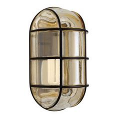 Outdoor Wall Light with Grey Glass in Black Finish at Destination Lighting