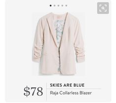 StitchFix 10/24/2017 .... This is a nice casual blazer. Good color and love the ruched sleeves!