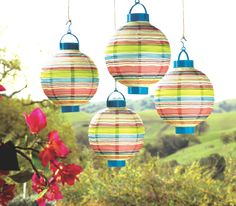 Bali Striped Lanterns at Cost Plus World Market