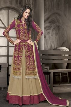 Wine and beige lehenga style anarkali suit with front slit Wine and beige poly georgette lehenga style Comes with matching bottom and Can be stitched upto size 42 inches Indian Dresses, Indian Outfits, Long Choli Lehenga, Anarkali, Lehenga Online Shopping, Ladies Salwar Kameez, Indian Clothes Online, Purple Coat, Lehenga Style