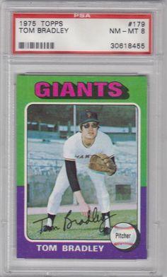 1975 Topps Baseball Set Break #  179 Tom Bradley PSA 8 NM - MT