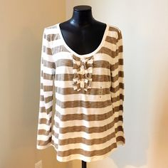 Striped Ruffle Henley Striped henley with ruffle placket.  Tan and white stripe with slubs.  Never worn, but tags were removed. Old Navy Tops Tees - Long Sleeve