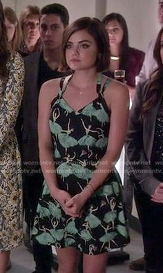 Aria's ballerina print dress on Pretty Little Liars.  Outfit Details: http://wornontv.net/50755/ #PLL