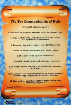 Math Ten Commandments freebie