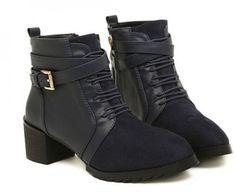 Latest Pointed Toe Bandage Chunky Heel Dark Blue Martin Boots