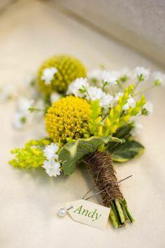 Craspedia and gypsophila buttonhole