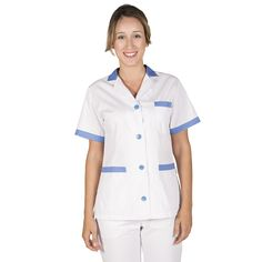 c36c66683f6 532 - bata limpieza blanca de mujer en manga corta y con botones combinada  con azul celeste