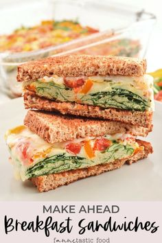 These freezable make-ahead breakfast sandwiches with eggs & veggies are easily prepped in advance for a week of healthy breakfasts! A great meal prep recipe idea for breakfast. #breakfast #breakfastsandwiches #eggrecipes Good Healthy Snacks, Healthy Recipes, Healthy Meals For Two, Egg Recipes, Brunch Recipes, Easy Meals, Brunch Foods, Healthy Choices, Recipies