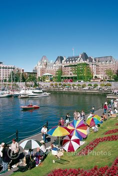 Victoria, BC, Vancouver Island, British Columbia, Canada - Tourists walking along The Lower Causeway and Inner Harbour, past Artisan Vendors and Fairmont Empress Hotel Victoria Island Canada, Fairmont Empress, West Coast Canada, Vancouver Island, Countries Of The World, British Columbia, Dolores Park, Northern California, Places