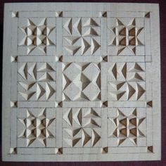 Chip Carving Class - Quilt Squares Post pics of your square(s) HERE! Dremel Carving, Soap Carving, Whittling Wood, Small Wood Projects, Wood Creations, Wood Engraving, Wooden Jewelry, Square Quilt, Wood Art