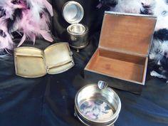 Tobacciano Dream - Silver Cigarette Box, Ashtray, Wooden Match Holder and Probable Sterling Cigarette Case - Gorgeous Pieces