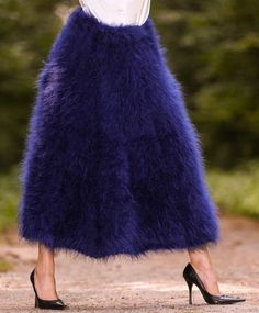 New Hand Knit Mohair Skirt Fuzzy DEEP BLUE SKIRT Handcrafted Dress by SUPERTANYA #SuperTanya #MohairSkirt