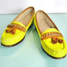 DIY Upcycled Neon Loafers
