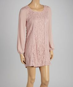 Take a look at this Dusty Pink Lace Shift Dress by Flying Tomato on #zulily today!