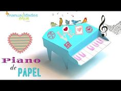 Piano de Papel Patron Gratis Manualidades con papel para Cumpleaños - http://cryptblizz.com/como-se-hace/piano-de-papel-patron-gratis-manualidades-con-papel-para-cumpleanos/