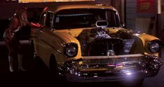 57 Chevy from the 1980 movie Hollywood Knights. In this picture Tony Danza driving, with Michelle Pfeiffer at the passenger window, on the closing night of Tubby's Diner. 1957 Chevy Bel Air, 1955 Chevrolet, Famous Movie Cars, Hollywood Knights, Tony Danza, 1980's Movies, Love Car, Cars And Motorcycles, Michelle Pfeiffer