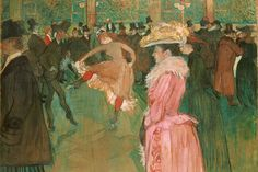 """Happy birthday to French artist Henri de Toulouse-Lautrec. With its top hats and cancan dancing, this famous work of his depicts a wild night in Paris at the Moulin Rouge. """"At the Moulin Rouge: The Dance,"""" by Henri de Toulouse-Lautrec Henri De Toulouse Lautrec, Renoir, Belle Epoque, Maurice Utrillo, Georges Seurat, Philadelphia Museum Of Art, Philadelphia Pa, Oil Painting Reproductions, Caravaggio"""