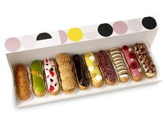 Time to eat these yummy eclairs : ) love the dots PD