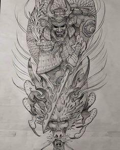 Asian Tattoos, Black Ink Tattoos, Body Art Tattoos, Dragon Tattoo Colour, Koi Dragon Tattoo, Full Sleeve Tattoo Design, Full Sleeve Tattoos, Samurai Warrior Tattoo, Anubis Tattoo