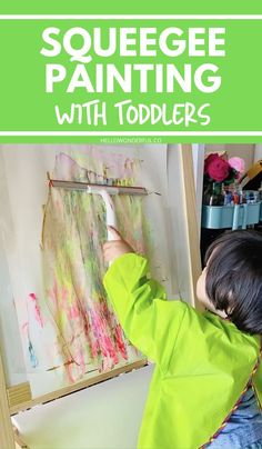 Squeegee Painting With Toddlers. A fun painting activity you can do with toddlers or preschoolers that creates beautiful art in seconds! Great low mess fine motor activity too. Kids Painting Activities, Motor Activities, Painting For Kids, Art For Kids, Toddler Preschool, Toddler Crafts, Toddler Activities, Preschool Activities, Crafts For Kids