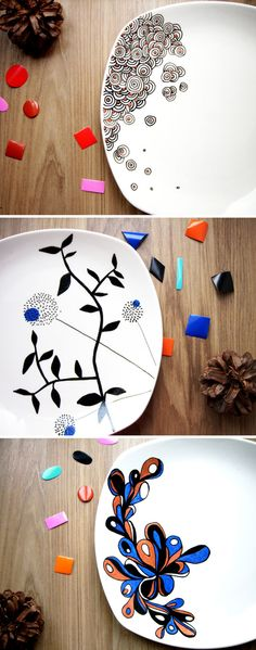 .oOo. Assiettes peintes- geometric designs, sharpie ideas