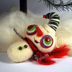 Needle felted super cute snowman Christmas ornament Holiday decor (green and blue hat) 0006. $20.00, via Etsy.