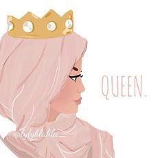 Hijab Drawing : Queen and hijab afbeelding Girly M, Muslim Girls, Muslim Women, Muslim Couples, Niqab, Hijab Drawing, Islamic Cartoon, Anime Muslim, Hijab Cartoon