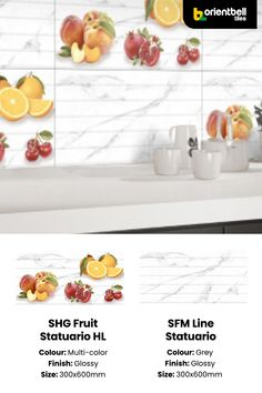 Rich ceramic wall tiles with a lovely fruit pattern and neat gloss finish for your kitchen. Complimenting it is the matte finish Statuario tile to create a fresh and versatile tile pattern. These tiles are extremely durable and will blend seamlessly with your kitchen's ambience. Serviceable in South and West India. Price: ₹58/sq.ft or ₹620/sq. metre. See the tile in your space with the Trialook visualiser tool. #statuario #italian #wall #tiles #glossfinish #kitchen #decor #home Kitchen Tiles, Kitchen Decor, Buy Tile, Fruit Pattern, Ceramic Wall Tiles, Tile Patterns, India, Ceramics, Fresh