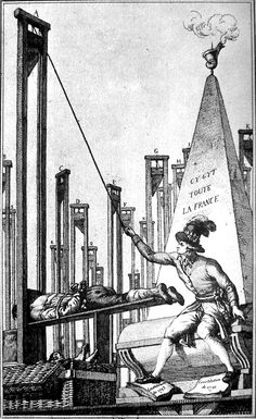 Robespierre guillotining the executioner after having guillotined everyone else in France.