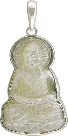 Hand Carved Mother of Pearl Buddha Pendant