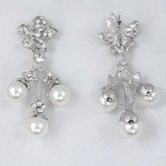 EVER FAITH Wedding Flower Cluster Simulated Pearl Necklace Earrings Set Clear Austrian Crystal *** Find out more about the great product at the image link. (This is an affiliate link) #JewelryForWomen