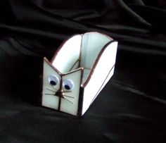 Handmade Stained Glass BOX (Business Card Holder) CAT (BXC34) #Handmade