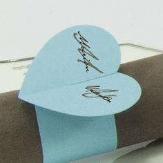 Rond de serviette cœur bleu