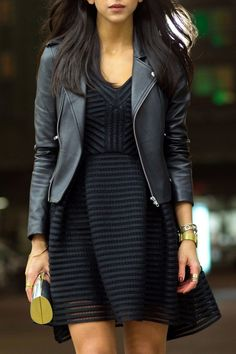 Total black, cute mini dress and leather jacket balmain | www.poshmap.com