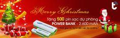 Vui giáng sinh quà lung linh (500 pin sạc dự phòng) tại Thành Trung Mobile