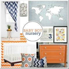 Navy and Orange Baby Boy Nursery Mood Board on PBJstories.com