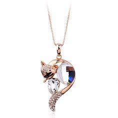 Мода новинка кулон кристалл лиса ожерелье из китая завод