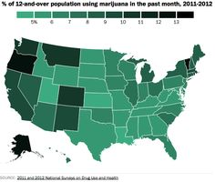 Seven percent of Americans use marijuana monthly, but that number varies considerably by state.
