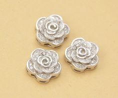 1pc 11mm 925 Sterling Silver Zircon Camellia Spacer Bead / Connector, 925 Silver Zircon Pendant / Charm (S297S)