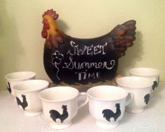 NEW Rooster Coffee Cups Country Home Country Kitchen Rooster Decor Housewarming Gift Home Decor Ready To Ship One Of A Kind Rooster Lover Kitchen Signs, Kitchen Decor, Bath Sign, Coffee Bar Home, White Coffee Cups, Rooster Kitchen, Rooster Decor, Chickens And Roosters, Victorian Decor