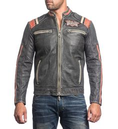 "DETAILS    • Affliction Genuine Leather Jacket    • Self Applique With Embroidery    • Perforated Detail    • Vintage Wash CONTENT AND CARE    • 100% Genuine Cow Leather    • Dry Clean Only    • Imported MODEL    • Height = 5'11""    • Chest = 41""    • Waist = 32""    • Wearing size medium"