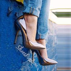 Shoespie Gun Metal Pointed Toe Stiletto Heels